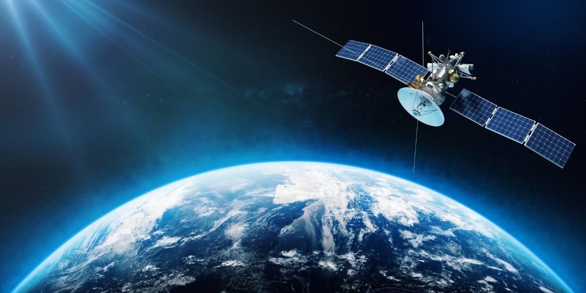 Space satellite orbiting earth