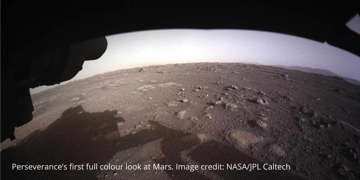 Perseverance's first full colour look at Mars. Image credit: NASA/JPL Caltech